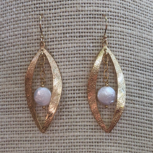 Gold Leaf and Coin Pearl Earrings