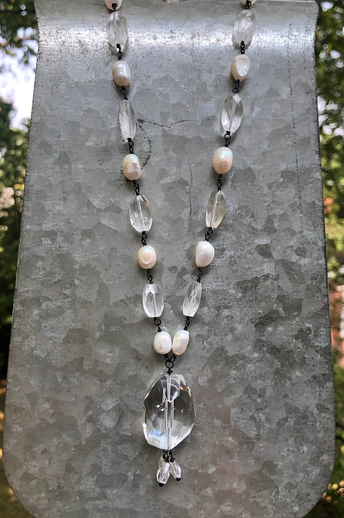 Crystal Quartz Pearl Dark Wire Necklace