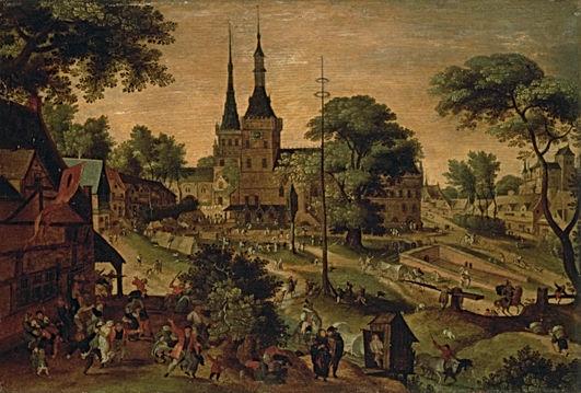 Peinture - Kermesse flamande ou Place de Bailleul - Jacob Savery