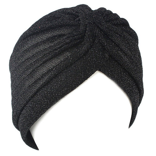 Black Glitter Fashion Turban