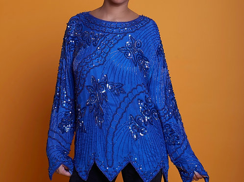 Royal Trapezoid Sequin Top