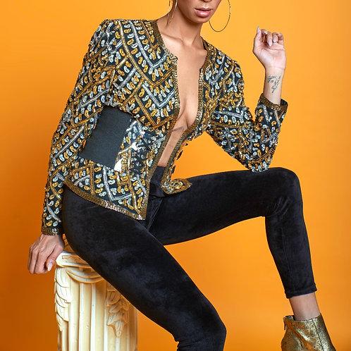 Platinum & Gold Sequin Leaf Jacket