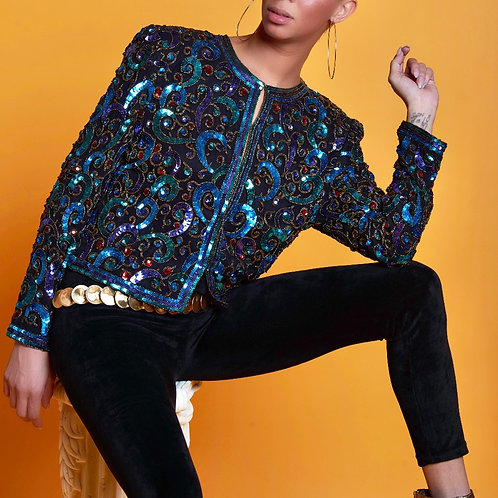 Curled Up In Hornets Sequin Jacket Top