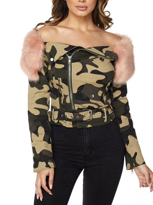 Pink Soldier Shoulder Camo Fur Jacket