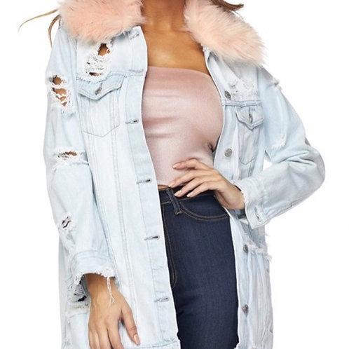 Pink Panther Fur Denim Jacket