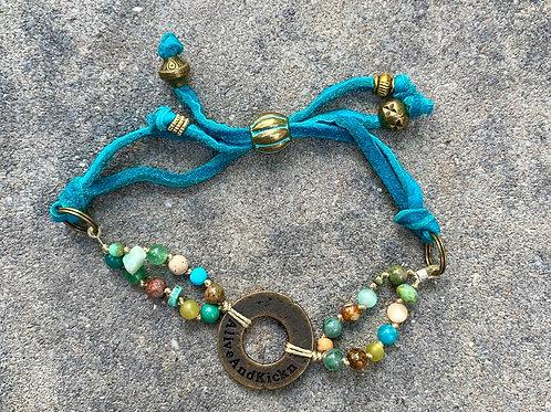 Healing Stone Logo Suede Bracelet