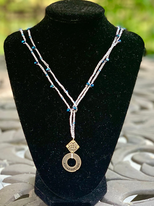 Crystal and Linen Lariat Necklace