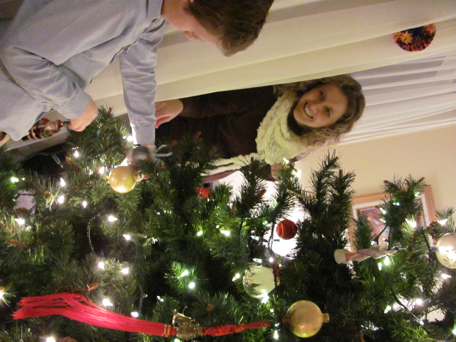 Decorating the church tree
