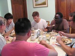 Men enjoying dinner