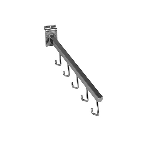 Slatwall 400mm Angled Arm with 5 Hooks