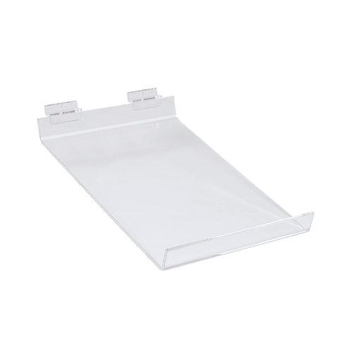 Slatwall Acrylic Shelf A4 Angled 220w x 300d