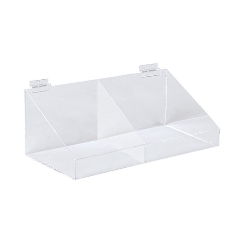 Slatwall Acrylic Display Bin With Divider & Low Front 293w x 155d x 100h