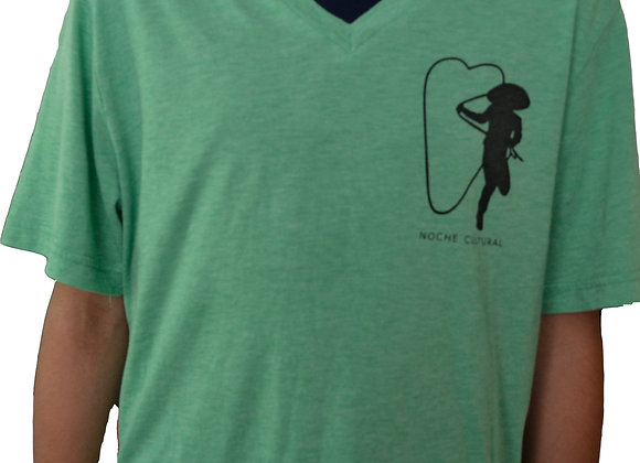 Noche Cultural Camiseta Cuello V (Color Verde)
