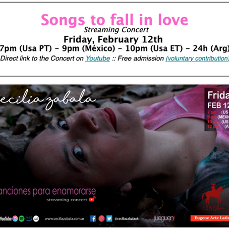 Free Virtual Concert Songs to fall in love with Cecilia Zabala