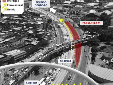 Trecho da Avenida Brasil será interditado para colocação de passarela. Veja as orientações