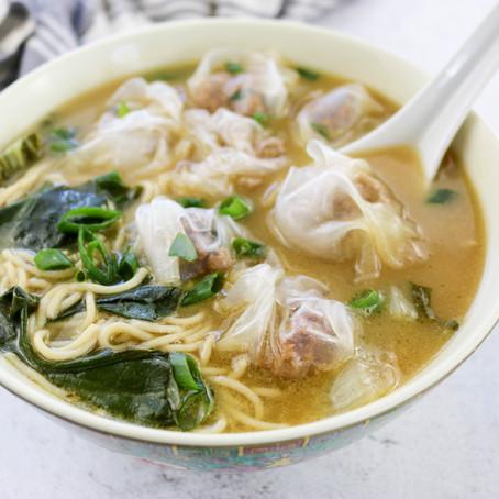 Meaty Wonton Noodle Soup - Vegan & Gluten Free!