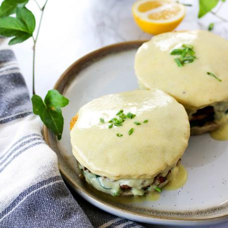 Spinach, Mushroom and Sausage Vegan Eggs Benedict