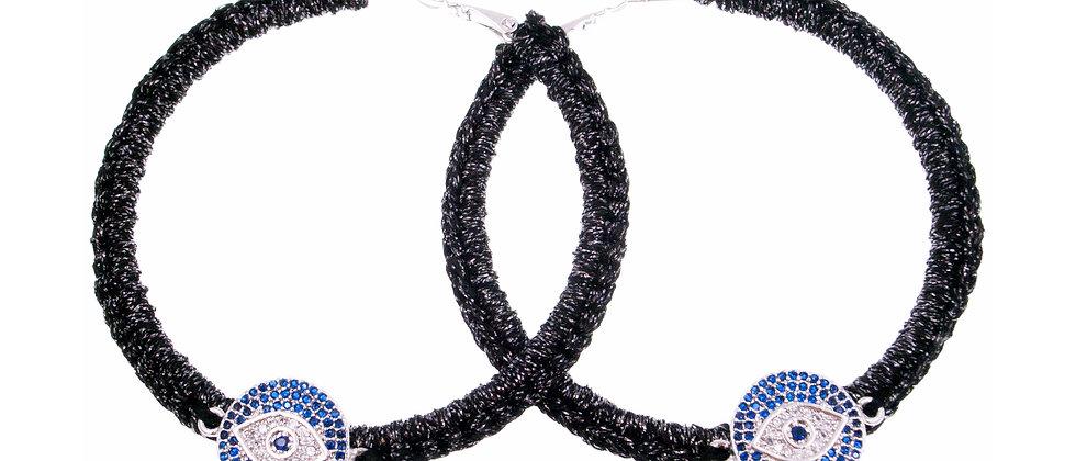 "Amelie Jewelry Zirconia ""Devil Eye"" Hoop Earrings"