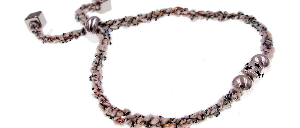 Amelie Jewelry Star Silver Bead Friendship Bracelet Beige