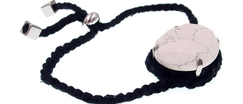 Amelie Jewelry Oval Glass Stone Friendship Bracelet Black