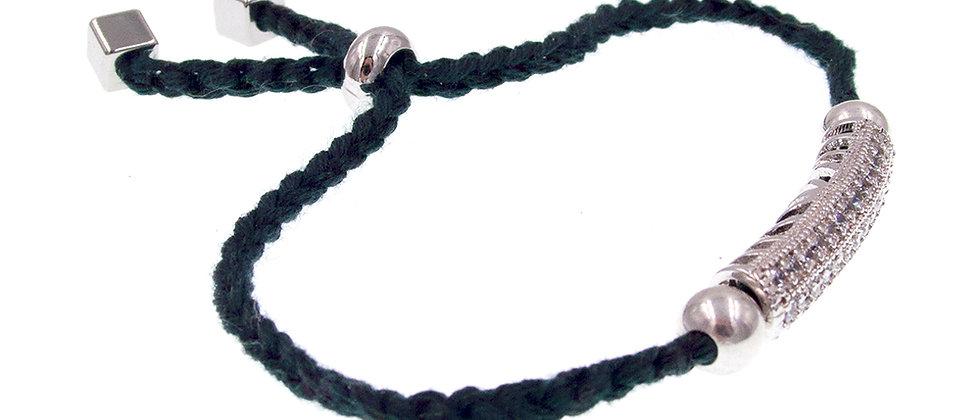 Amelie Jewelry Zirconia Bar Friendship Bracelet Green
