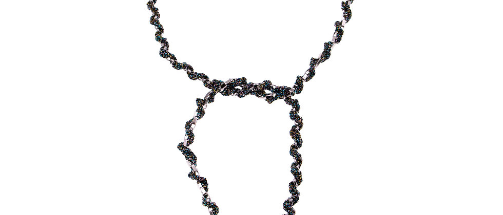 Amelie Jewelry Pearl Twisted Tie Necklace Rainbow