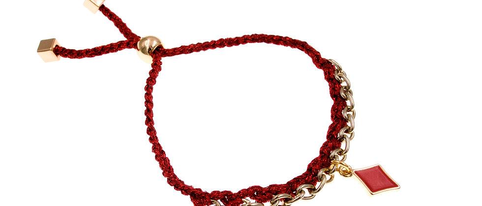 Amelie Jewelry Diamond Charm Friendship Bracelet Red