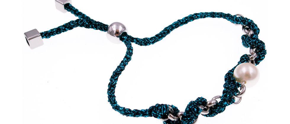 Amelie Jewelry Pearl Twisted Friendship Bracelet Blue