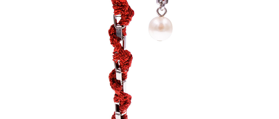 Amelie Jewelry Pearl Twisted Earrings Red