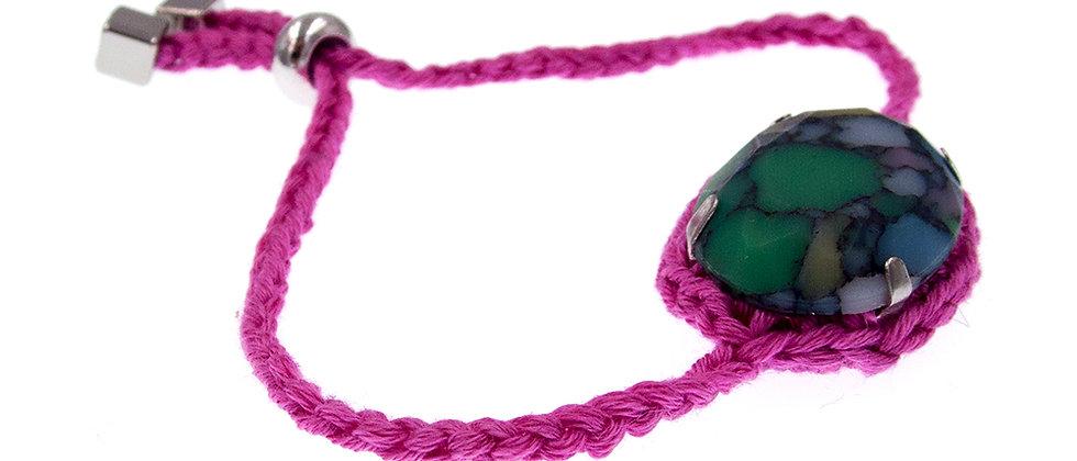 Amelie Jewelry Oval Glass Stone Friendship Bracelet Pink