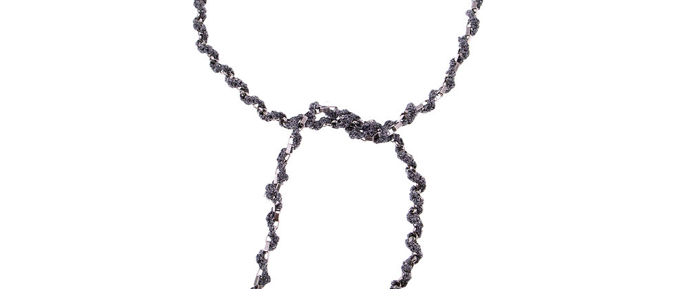 Amelie Jewelry Pearl Twisted Tie Necklace Grey