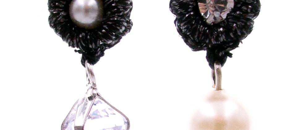 Amelie Jewelry Zirconia and Pearl Earrings Black