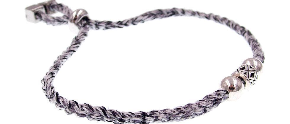 Amelie Jewelry Silver Bead Friendship Bracelet Grey