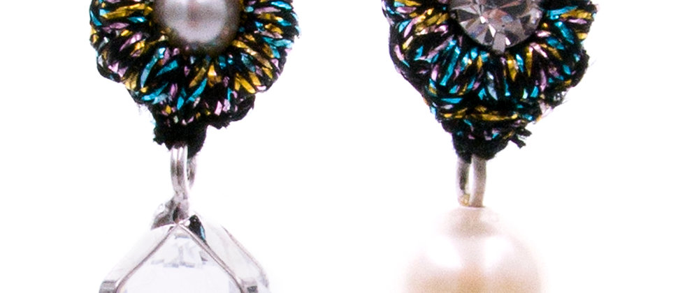 Amelie Jewelry Zirconia and Pearl Earrings Rainbow