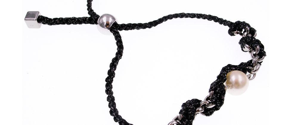 Amelie Jewelry Pearl Twisted Friendship Bracelet Black