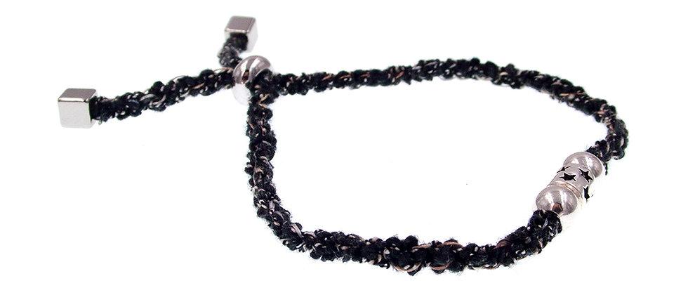 Amelie Jewelry Star Silver Bead Friendship Bracelet Black