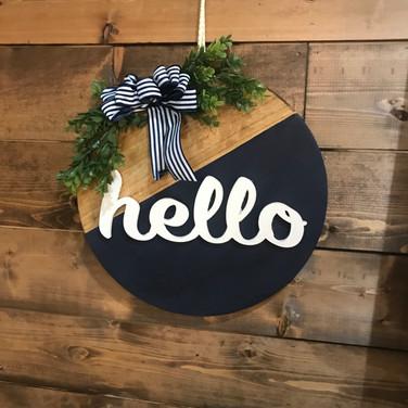 Round Hello Sign