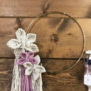 Hoop with Macrame Flowers