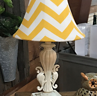 Accent lamp with a yellow and white chevron lamp shade. $38