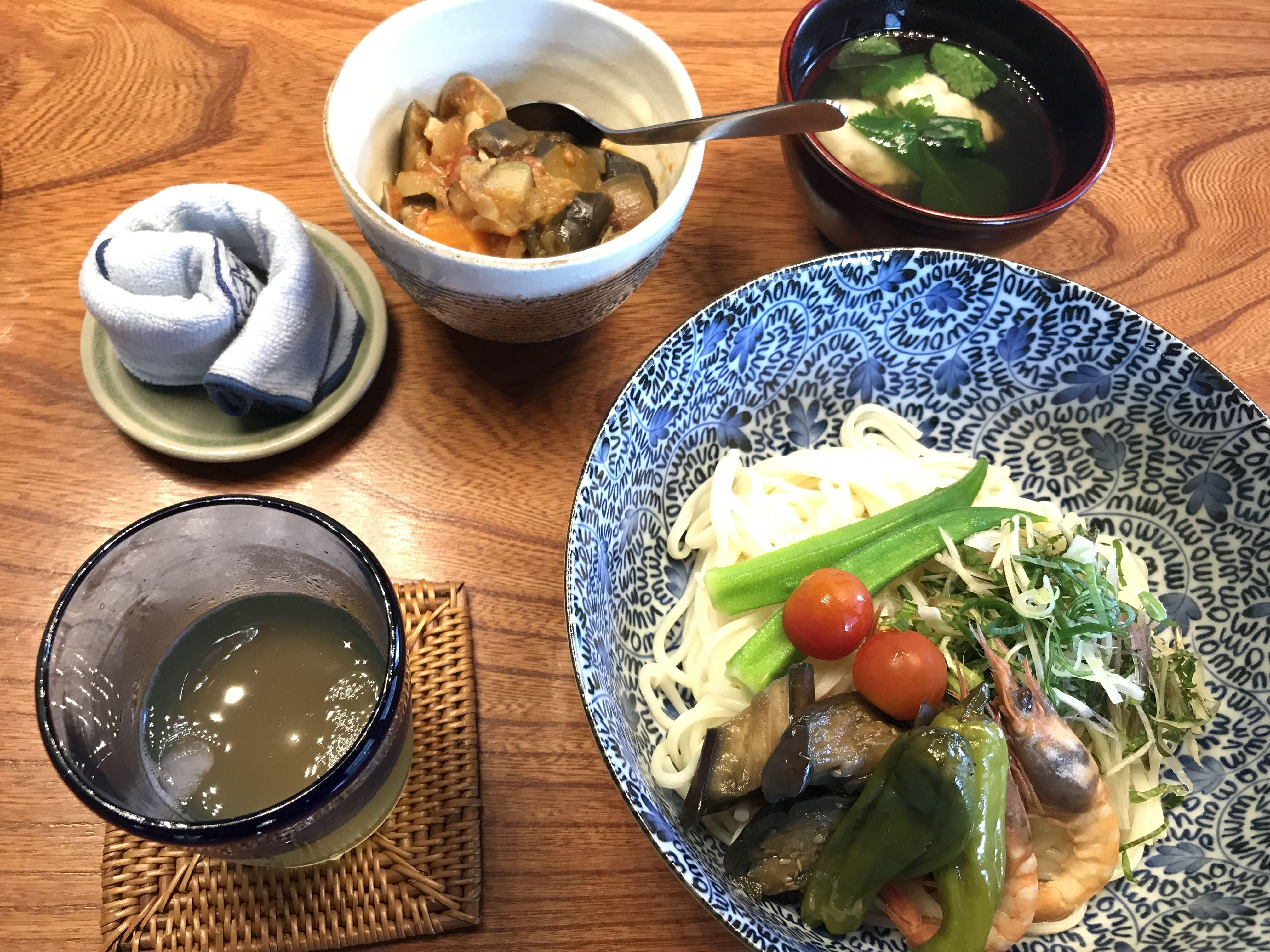 ガラエビ出汁の素麺、鱧のラタトゥイユ