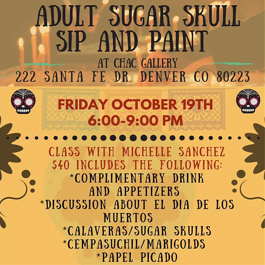 Adult Sugar Skull Sip and Paint