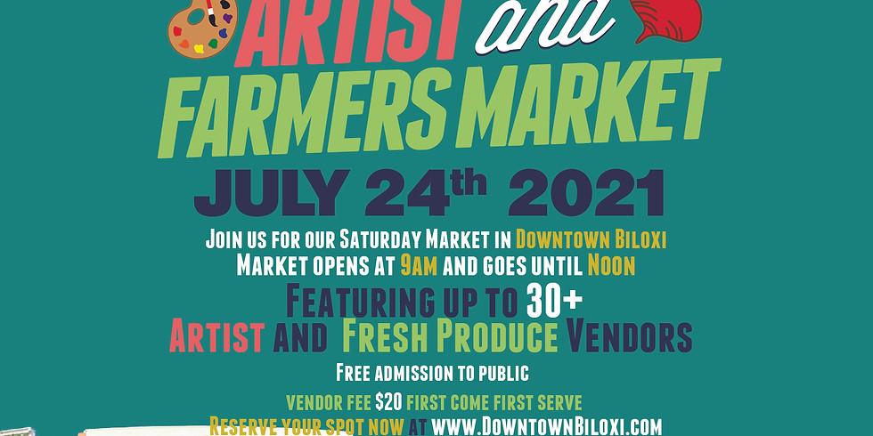 Downtown Biloxi Artist & Farmers Market July 2021