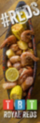 The Blind Tiger Royal Reds. Plate of fresh boiledshrimp served with potatoes, corn and lemon