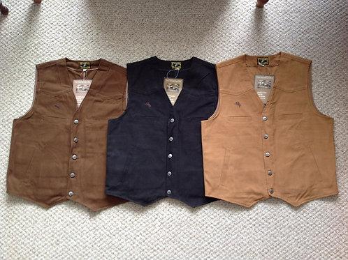 "Wyoming Trader ""Texas"" CCW vests in brown, black, tan colors"