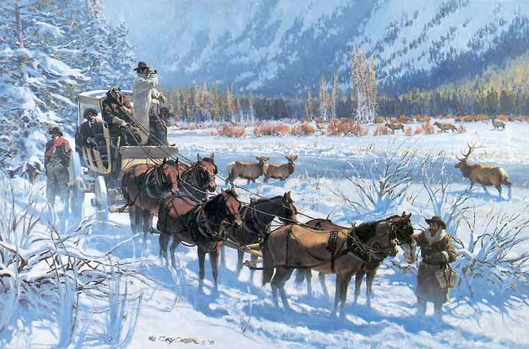 Gary Carter Western Art - Last Stage out of Yellowstone