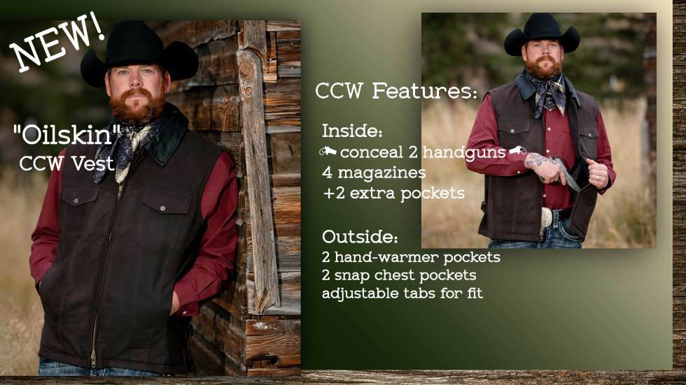 Rugged CCW conceal carry Oilskin canvas vest. New at Stockman Supply. Sizes Small to 3XL.