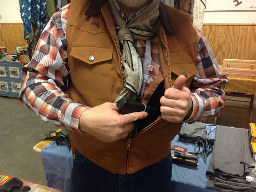 "Tan CCW vest, left holster, ""Cody"" style"
