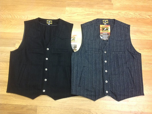 Wool Pinstripe CCW vests in black and gray