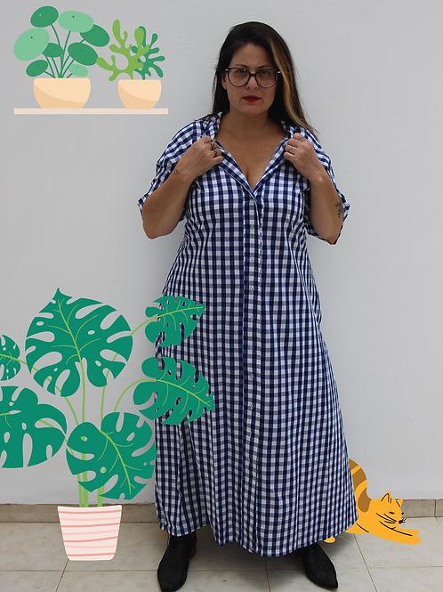 שמלת אלינור משבצות כחולות