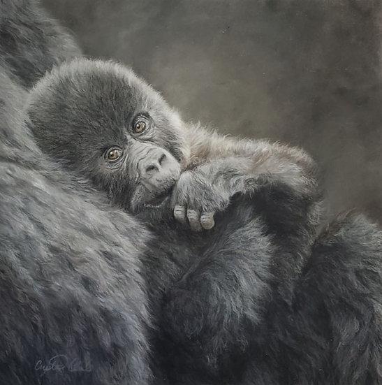 'The Look You Give' Original pastel gorilla artwork